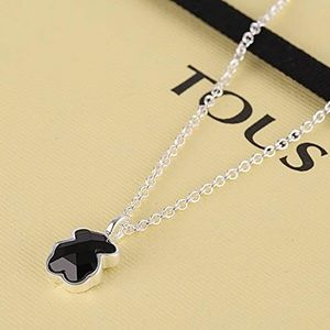 Tous Bear Black Onyx and chain silver